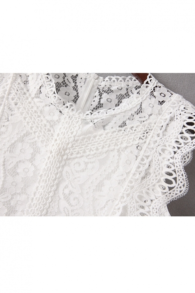 Tank Lace Two Sleeveless Pieces Round Crop q0awTa