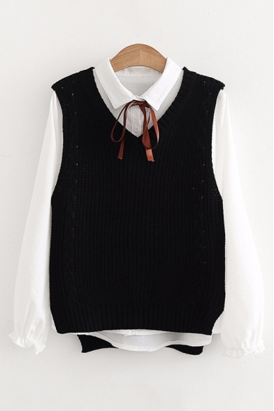 black longsleeve button down under white vest