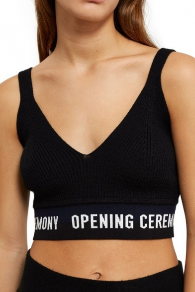 Neck Striped Sleeveless Tank Knit Crop Contrast Letter V Printed q4wgxdgBfI