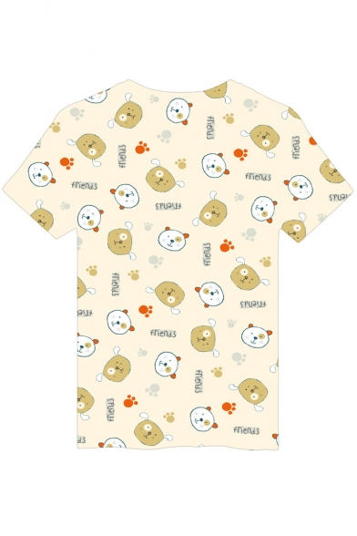Letter Printed Tee Sleeve Round Neck Short Bear FRIENDS dq0PwU4d