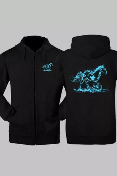 Horse Printed Long Sleeve Zip Up Hoodie