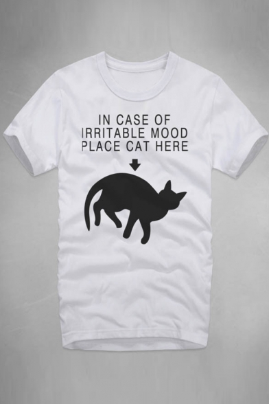Tee IN Cat Round CASE Letter Short OF Sleeve Printed Neck gwzrBgq1