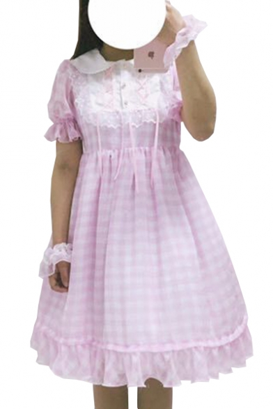 Lolita Style Peter Pan Collar Lace Insert Plaid Printed Buttons Embellished Midi Smock Dress