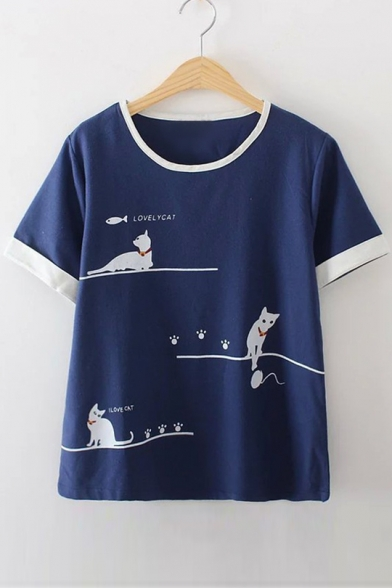 Tee Letter CAT Neck LOVELY Sleeve Trim Round Printed Contrast Short Cat qSwggWxvF1