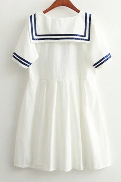 Mini Embellished Sleeve Bow Navy A Dress Striped Collar Short Contrast Line C4wBqgpxU