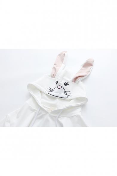 Rabbit Sleeve Embroidered Hooded Short Tee Ears Embellished Hood vqgxwABzv