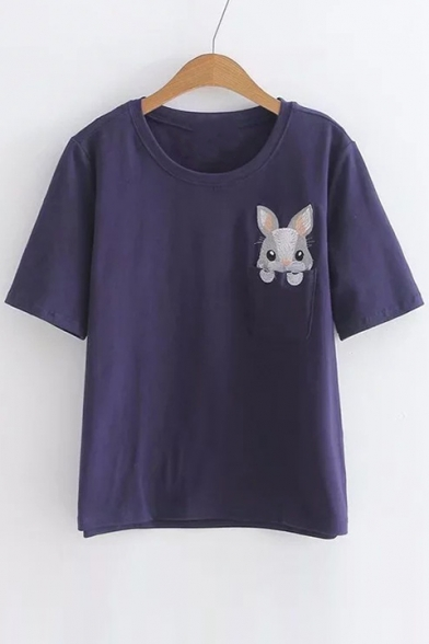 Tee Embroidered Sleeve Rabbit Leisure Neck Pocket Round Short 481Uq
