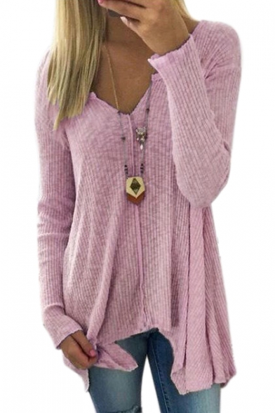 V Neck Long Sleeve Plain Asymmetric Hem Ribbed Sweater