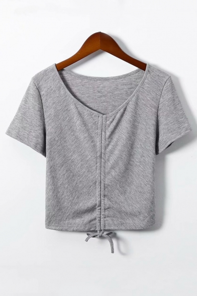 Drawstring Neck Tee Plain Hem Short Sleeve V Crop wRFxvv