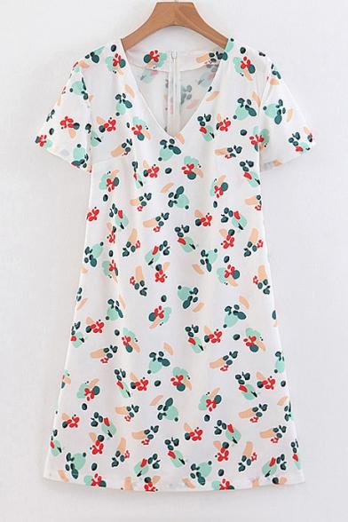 V Neck Short Sleeve Floral Printed Mini A-Line Dress