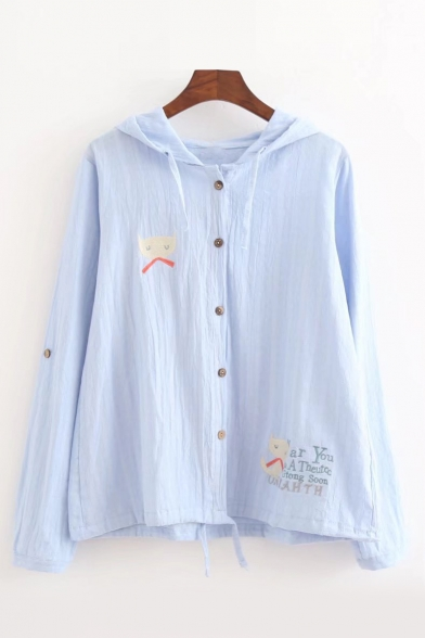 Embroidered Hooded Coat Proof Sun Letter Cat Down Sleeve Long Buttons RUnqztwYx