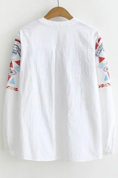 Chic Geometric Embroidered Long Sleeve V Neck Blouse