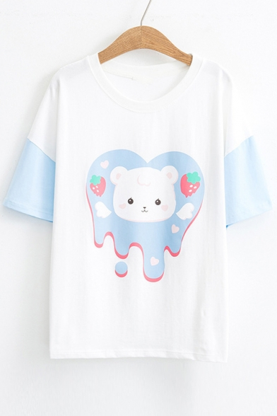 Printed Strawberry Sleeve Short Color Cat Neck Block Tee Round 07YxEtY