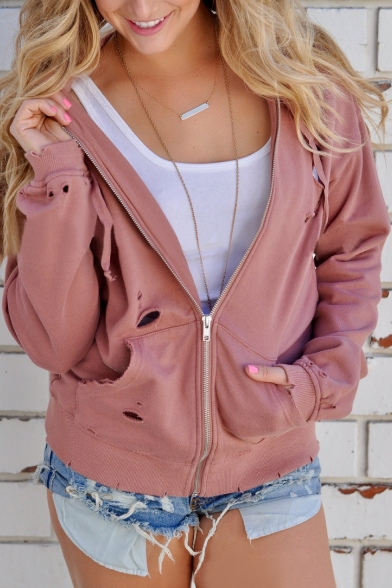 Cut Out Detail Plain Long Sleeve Zip Up Hooded Coat