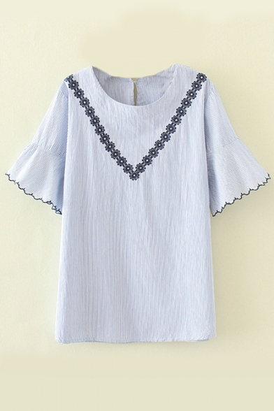 Printed Short Tee Neck Floral Striped Sleeve Embroidered Round Tq7B76PvOw