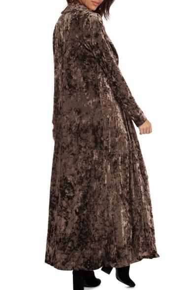 Lapel Collar Long Sleeve Plain Velvet Tunic Coat