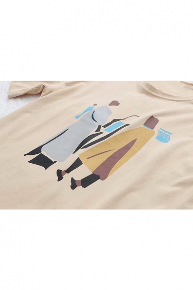 Character Tee Cartoon Printed Round Neck Leisure Loose FwxS5qaan