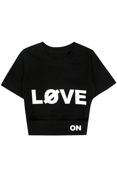 Letter Hollow Short LOVE Round Crop Out Printed Tee Neck Sleeve TCxqAw