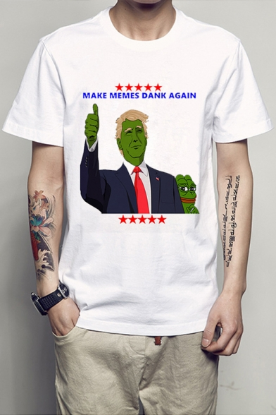 Pepe MAKE MEMES Letter Character Frog Printed Round Neck Short Sleeve Tee
