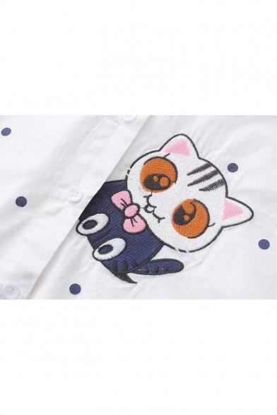 Shirt Printed Fish Dot Half Buttons Collar Polka Sleeve Lapel Down Cat Embroidered 4xXq7OPw5