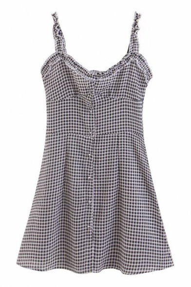 Retro Plaid Printed Straps Sleeveless Buttons Down Mini Cami Dress