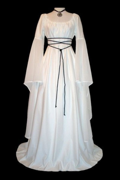 Round Neck Long Sleeve Tied Waist Plain Maxi A-Line Dress