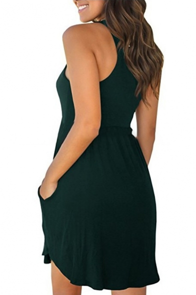 Round Neck Sleeveless Plain Midi A-Line Dress