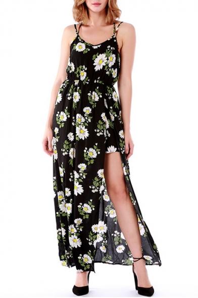 Spaghetti Floral Dress Maxi Cami Split Straps Sleeveless Front Printed 4vxtq