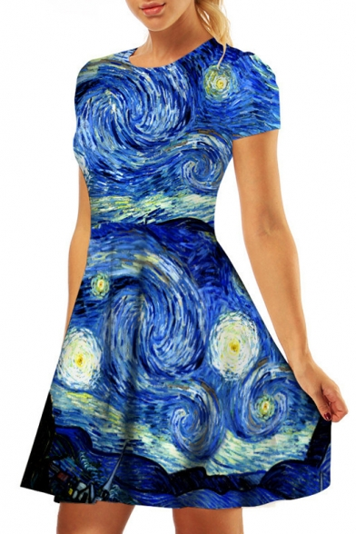 3D Painting Printed Round Neck Short Sleeve Mini A-Line Dress