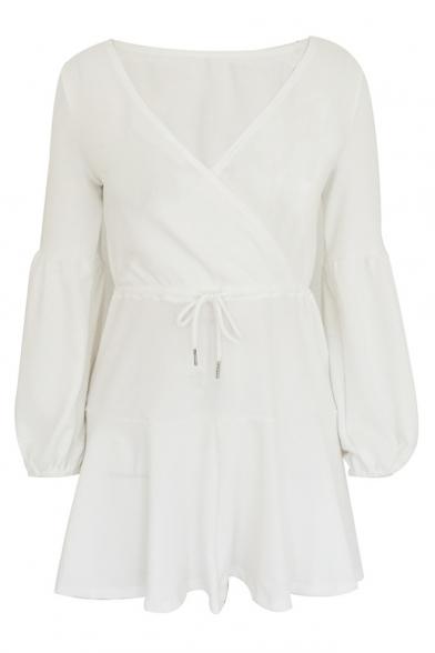 Basic V Neck Long Sleeve Plain Drawstring Waist Mini A-Line Dress