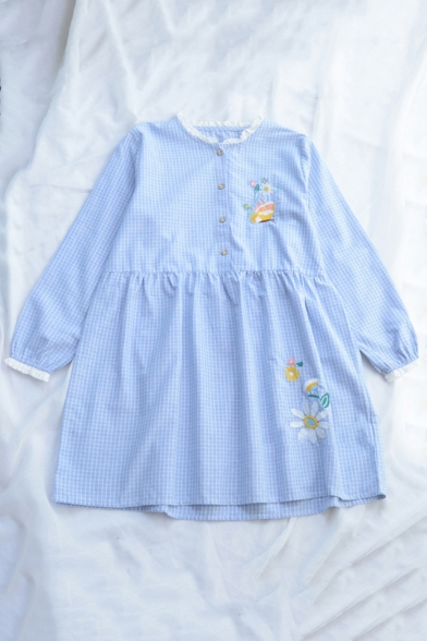 Butterfly Floral Embroidered Plaid Printed Round Neck Long Sleeve Button Front Mini Smock Dress