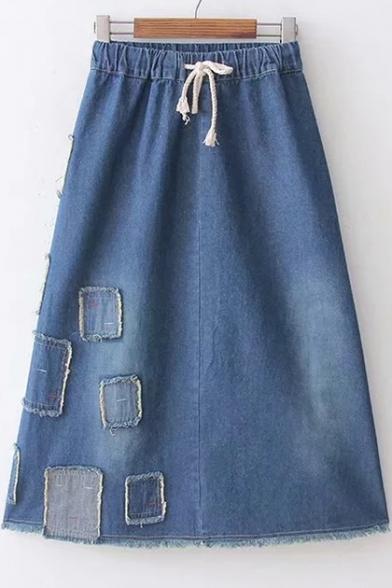 Chic Applique Drawstring Waist Midi A-Line Denim Skirt