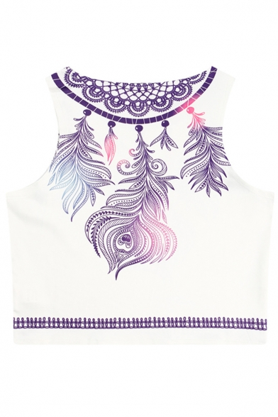 Tank Neck Sleeveless Printed Crop Round Feather aXSvpqRR