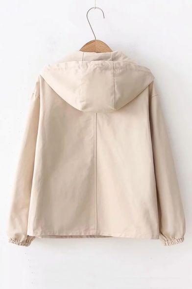 Hooded Coat Up Trendy Sleeve Zip Long Letter Embroidered a6wSqpPP