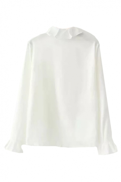 Collar Embroidered Placket Sleeve Down Long Shirt Lapel Letter Button ftFqy
