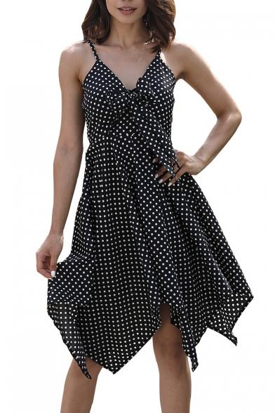 Dress Straps Printed Dot Asymmetrical Midi Polka Sleeveless Spaghetti Wt8a1xZxwq