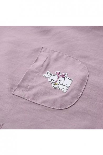 Rabbit Embroidered Pocket Button Down Lapel Collar Short Sleeve Shirt