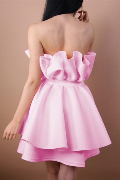 Strapless Sleeveless Plain Layered Mini Tube Dress
