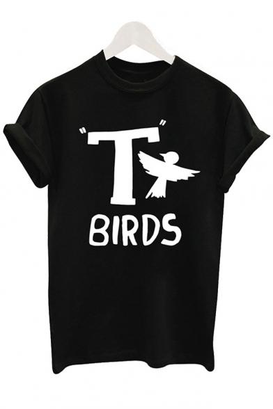BIRDS Round Neck Tee Sleeve Short Letter Animal T Printed wpdgSwq