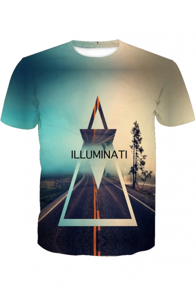 Neck Sleeve Tee Letter ILLUMINATI Triangle Printed Short Round Road X0w4xA