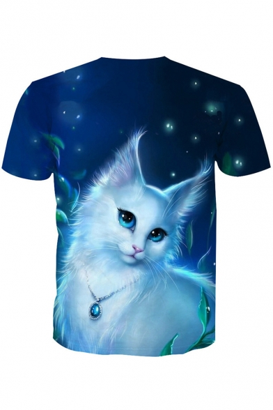 Printed Cat Short Round Neck Sleeve 3D Tee Fancy zXx4wnE