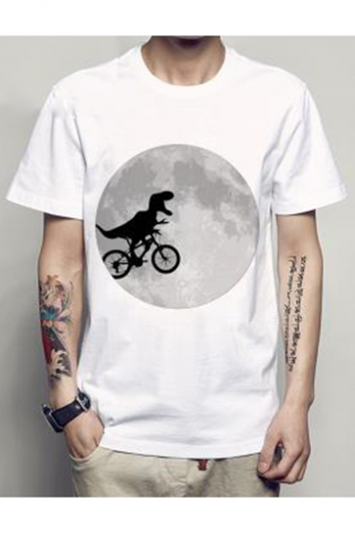 Short Sleeve Bicycling Round Tee Dinosaur Neck Printed Moon Rwqwvap4