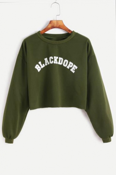 BLACK DOPE Letter Printed Long Sleeve Crop Sweatshirt