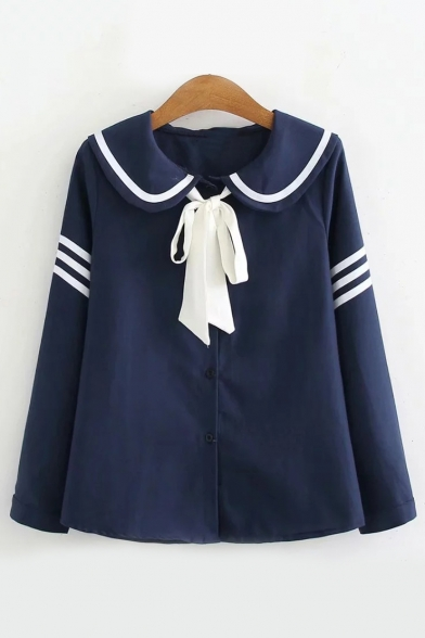 Bow Tie Navy Collar Contrast Striped Button Down Blouse