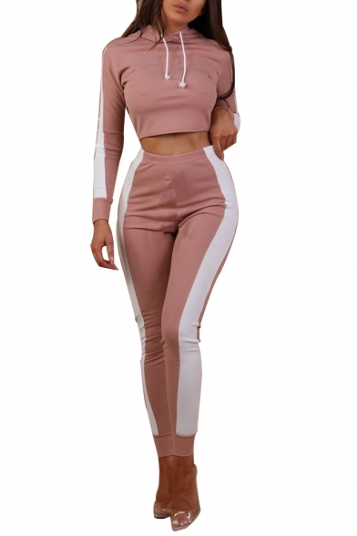 Chic Leisure Color Block Long Sleeve Crop Hoodie with Skinny High Waist Pants Sports Co-ords