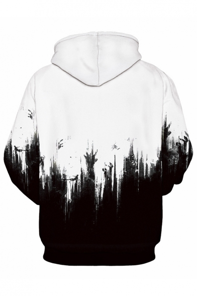 Printed Sleeve Block Hands Color Long Leisure Hoodie 6AFHw
