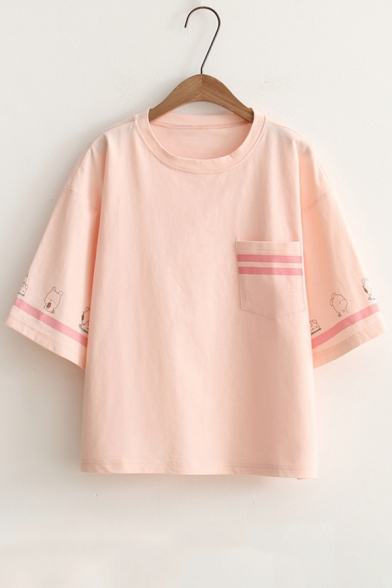 Striped Printed Short Round Tee Sleeve Neck Rabbit Contrast SqZdaxT