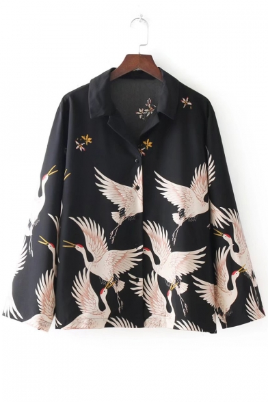 Crane Floral Printed Lapel Collar Long Sleeve Button Down Chiffon Shirt