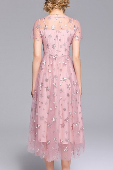 Embroidered Mesh Insert Round Neck Short Sleeve Maxi A-Line Dress