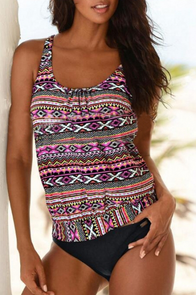 Fashionable Floral Printed Round Neck Sleeveless Two Pieces Swimwear